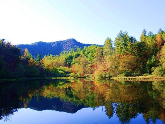 YMCA Camp Waita will open in 2016 on a site near the village of Almond, in Swain County. This is the view from the edge of the pond on the 900-acre site.