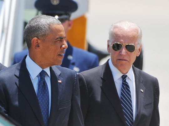 Seriously, these dudes look like they could be private detectives. President Barack Obama with Vice President Joe Biden in Orlando in 2016.