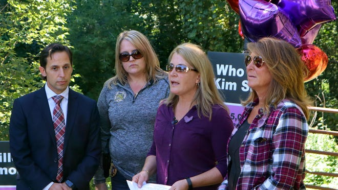 From left, Oneida County Assistant District Attorney Todd Carville, Oneida County Investigator Tricia Nicholson, Lynda Fiorini and Jackie Bellino speak about the unsolved murder case of Kim Simon during a news conference Friday, Sept. 18, 2020, in Marcy. Simon was a friend of Fiorini's and Bellino's before she was killed while still in high school in 1985.