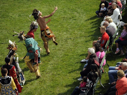 File - Longhouse Dancers from Oneida, including (from top) Brandon Granquist, Quanah Pocan, Bobby Mills, Jojo Santiago, Natasha Stevens and Tianna Hackett, perform Native American dances at the 23rd annual Ethnic Fest celebration in Two Rivers in 2014.