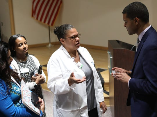 Erica Amianda, from the Center for Advanced Practice at Hackensack University Medical Center, speaks to NJ Health Commissioner, Dr. Shereef Elnahal. Amianda asked Elnahal when advanced practice providers will have prescribing rights for medical marijuana. Wednesday, July 11, 2018