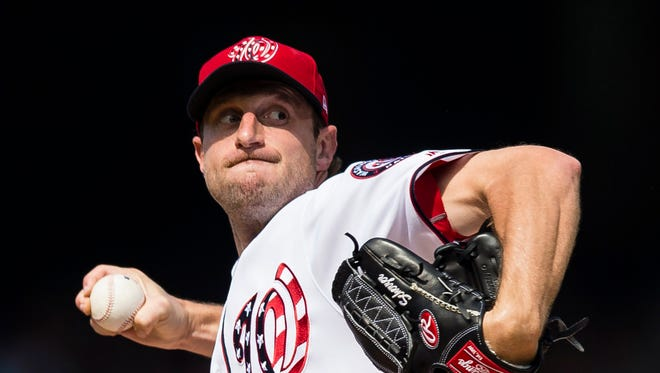 Washington Nationals starting pitcher Max Scherzer throws a pitch against the Texas Rangers.