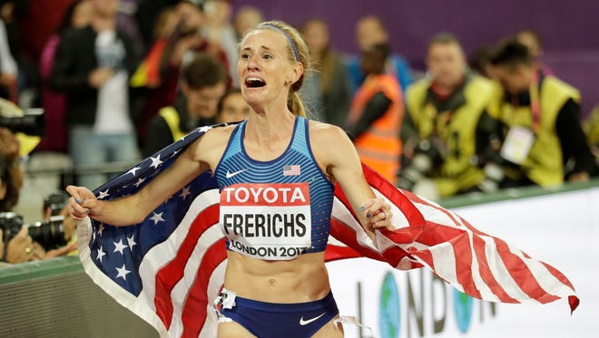 United States' Courtney Frerichs celebrates after winning the silver medal in the women's 3000m steeplechase final during the World Athletics Championships in London Friday, Aug. 11, 2017.