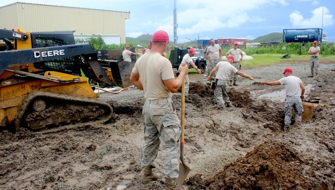 Members of the Port Clinton-based 200th Red HORSE Squadron are working to rebuild St. Thomas, U.S. Virgin Islands, after the island was damaged by Hurricanes Irma and Maria.