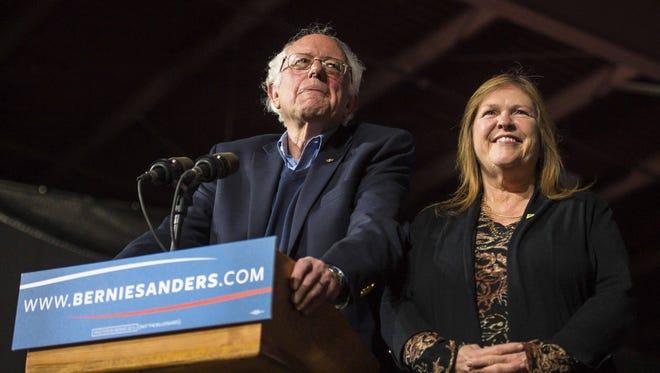 Democratic presidential candidate Sen. Bernie Sanders, I-Vt., and his wife, Jane Sanders, arrive before he speaks in Essex Junction in March 2016.