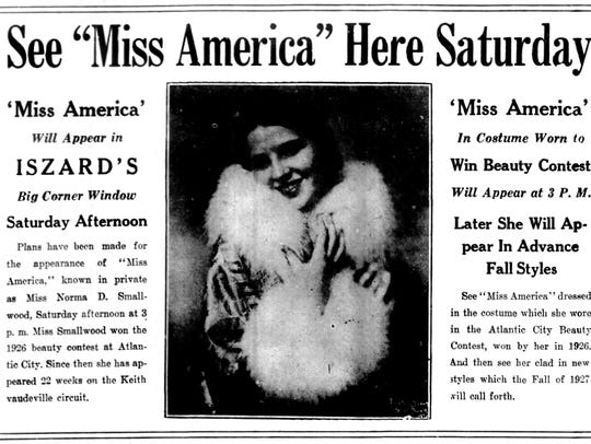 This advertisement for an  appearance by Miss America
