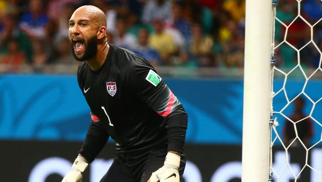 United States goalkeeper Tim Howard (1) reacts against Belgium during the round of sixteen match in the 2014 World Cup at Arena Fonte Nova.