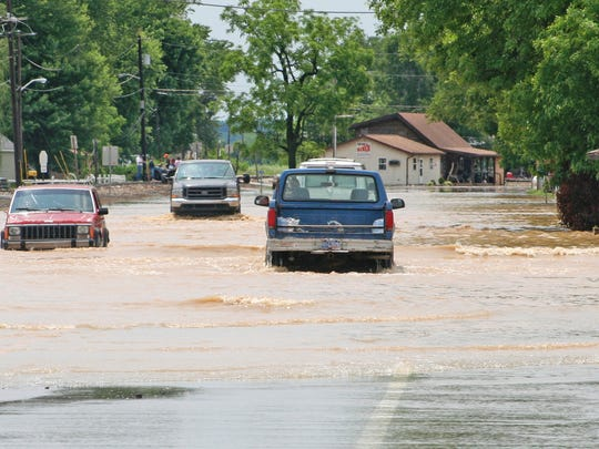 Flooding on SR 67 coming into the town of Paragon in Morgan County June 8, 2008.