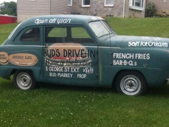 York Daily Record photographer Paul Kuehnel snagged a photo of this car decked out as a Bud's Drive-In advertisement. The Drive-In was once located in York Township.