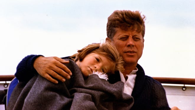 President Kennedy and daughter Caroline in Maine in 1963.