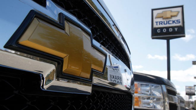 The grille of a Chevrolet Silverado pickup is seen at Cody Chevrolet- Cadillac in Montpelier, Vt.