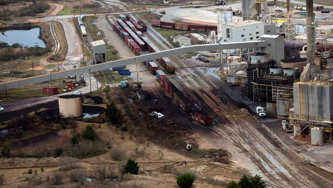 The damage and direction of the fallout from Sunday night's explosion at International Paper in Cantonment is clearly visible in these aerial photos taken Thursday morning.