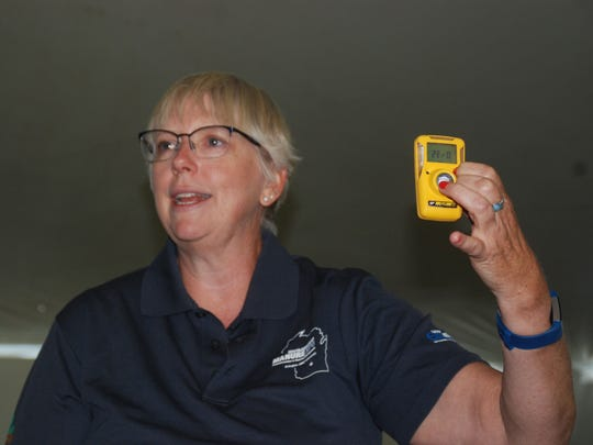 Farm Safety expert Cheryl Skjolaas demonstrated a personal