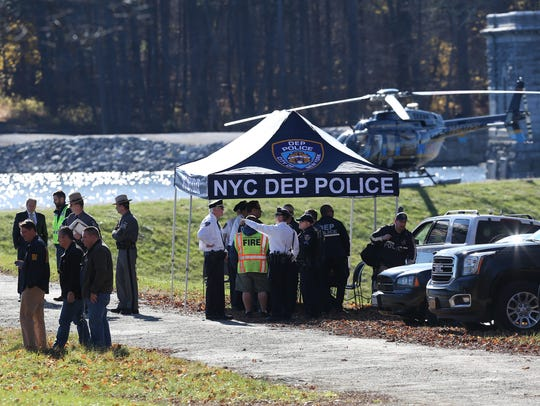 The DEP Police command post near the dam at Titicus