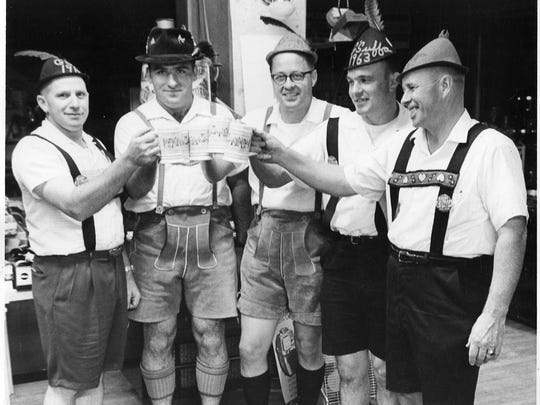 Revelers of Albany G'Suffa Days in 1963 show off their traditional German outfits. The celebration, hosted from 1960-1968, was a German-style festival with free-flowing beer.
