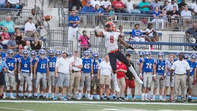 August 18, 2017 - Ridgeway's Kundarrius Taylor can't reach a pass during Friday night's game versus Memphis University School.