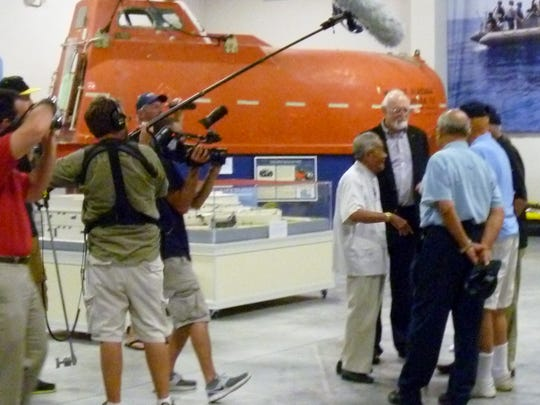 Filming the reunion at the SEAL Museum in Fort Pierce in July 2013.