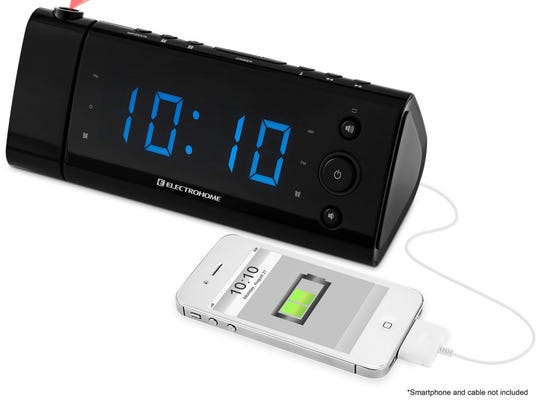 The USB Charging Alarm Clock Radio by Electrohome shows