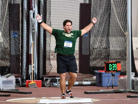 Mostafa Hassan celebrates after winning the title in the men's shot put at the 2017 NCAA Indoor Track and Field Championships while competing for Colorado State. Hassan, who won a second NCAA title the following year, qualified for the Olympics to represent his native Egypt last month.