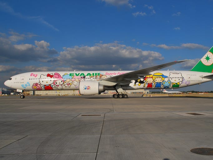 One of EVA Air's Hello Kitty-themed Boeing 777s.