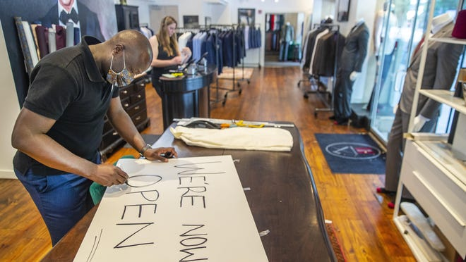 Musa Ato, owner of League of Rebels in downtown Austin, prepared his store to reopen in early May after shutdown orders were lifted. The local unemployment rate fell to 7.5% in June, the second monthly decline in a row and an indication that reopening efforts paid some early dividends.