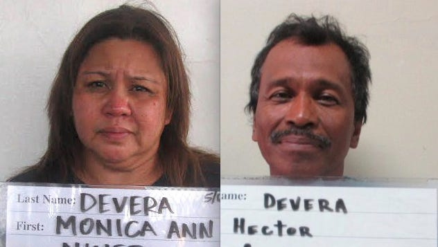 Monica Ann Ninete Devera, left, and Hector Cezar Devera are shown in this combined photo.