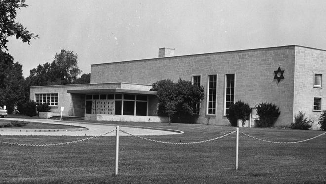 This photograph shows the second Adath Israel synagogue, opened in 1960, which was located on Washington Avenue near Green River Road.