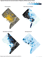 According to data compiled by the Urban Institute, Gyms and PokeStops in the augmented-reality game Pokemon Go tend to appear more in white areas than in black and Latino ones.