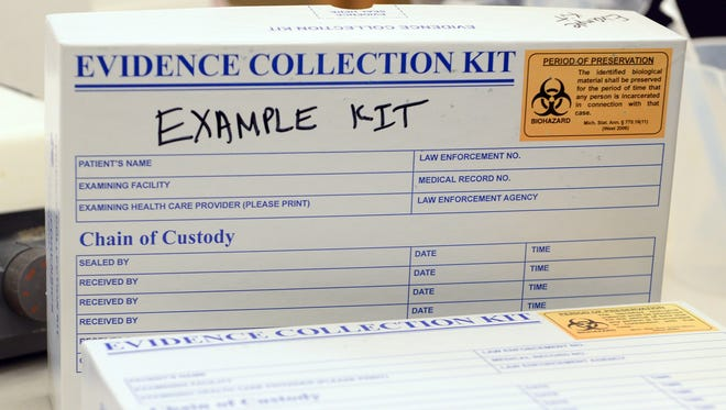 An example rape kit was shown during a 2014 tour at the Michigan State Police Forensic Science Lab in Lansing.