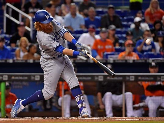 USP MLB: LOS ANGELES DODGERS AT MIAMI MARLINS S BBN MIA LAD USA FL