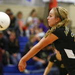 Great Falls Central's Kenadee Depner bumps the ball at the Wiegand Health Wellness Center.