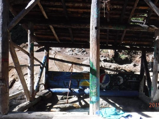 Damage to the facilities are seen at Umpqua Hot Springs