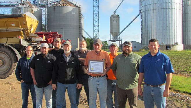 """Pictured are CHS Larsen Cooperative Center Valley employees that helped make the ResponsibleAg Certification possible. Left to right are Jeremy Hunt, Taylor Coy, Jeff Beresford, Dave Barth, Paul Tank, Andy """"Dutch"""" VanDyck, John Andraschko, Clay Alexander, and Tom Rose. Not Pictured: Hailey Sorenson and Mary Kay Cleven."""