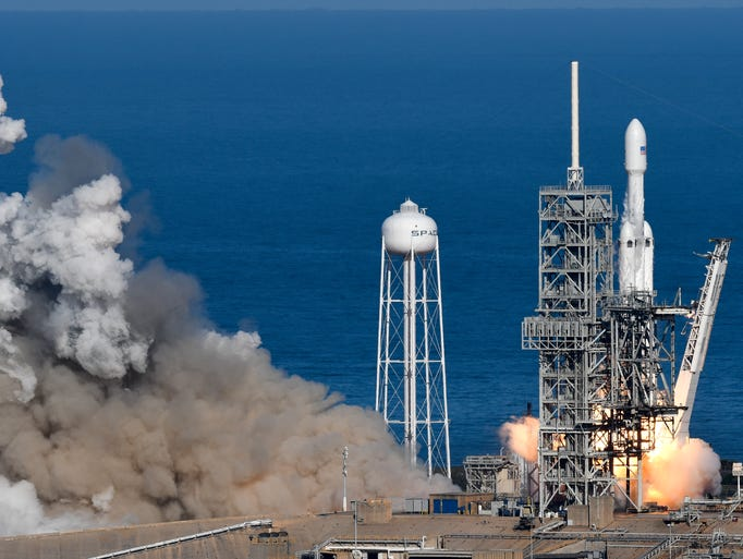 SpaceX's Falcon Heavy rocket launches from Kennedy