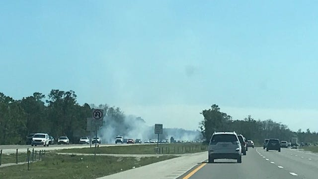 Several brush fires were reported along the northbound lanes of I-75 between Daniels Parkway and Colonial Boulevard Monday afternoon.