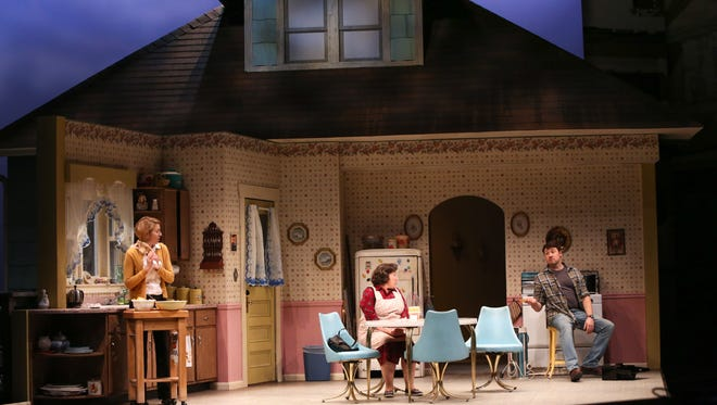 From left, Laura Gragtmans, Toni DiBuono and Colin Ryan in Miracle on South Division Street.