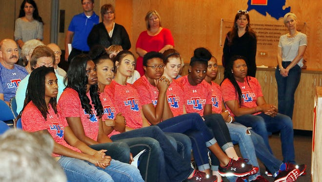 Louisiana Tech women's basketball players look on Tuesday during the introductory press conference of new coach Brooke Stoehr.