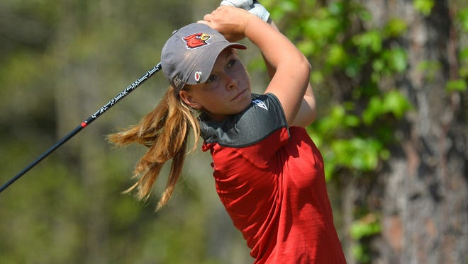 Teams participate on day three of the 2017 ACC Women's Golf Championship at the The Reserve Golf Club on Saturday, April 15, 2017 in Pawleys Island, South Carolina. Pictured is Lauren Hartlage.