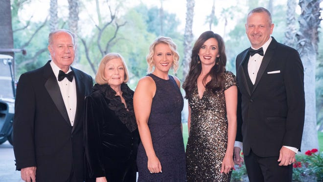 (left to right) Founders of the Olive Crest Desert Communities Region, Dr. James and Lorraine Brinton, Event Co-chairs Nicole Rixon and Kristen Shalhoub, and Donald Verleur, CEO of Olive Crest.