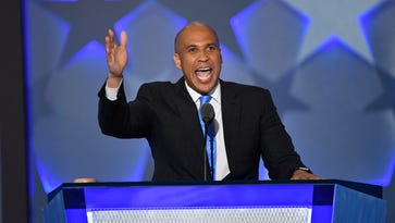 Sen. Cory Booker, D-N.J., speaks during the 2016 Democratic National Convention in Philadelphia on July 25, 2016.