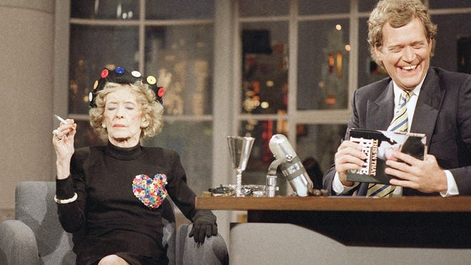 "Bette Davis is a guest of ""Late Night With David  Letterman"" on the set at NBC studios, May 26, 1987."