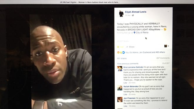 Elijah Ahmad Lewis, an actor in Motown: The Musical, posted a video on Facebook of a woman cussing at him and hitting him in downtown Reno.