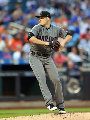 Aug 22, 2017: Arizona Diamondbacks starting pitcher Patrick Corbin (46) pitches against the New York Mets during the first inning at Citi Field.