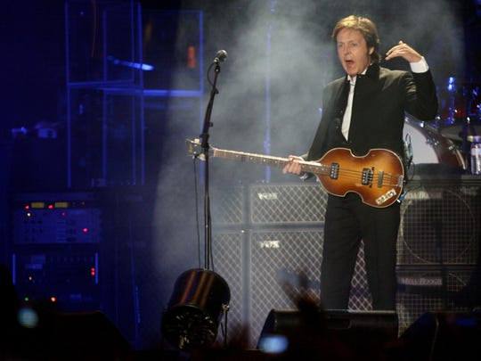 Paul McCartney performs on the Coachella Stage during the 2009 Coachella festival.