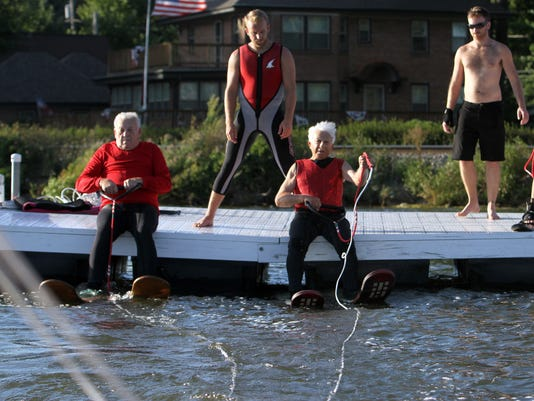 87 year old performs with Pewaukee Lake Water Ski Club