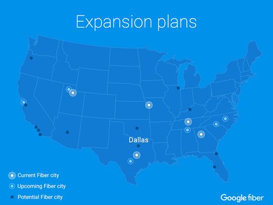 Map of Google Fiber's expansion plans
