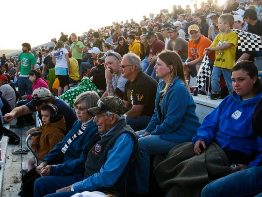 Stock car racing fans at the Electric City Speedway.