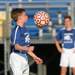 Byram Hills' Ryan Noel (8) controls a pass against Yorktown during the semifinal game of the Lakeland Boys Soccer Summer League at Walter Panas High School in Cortlandt July 28, 2015.