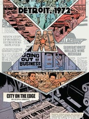 """Images from """"Abbott,"""" the new comic book series created by Saladin Ahmed. It's set in 1972 Detroit."""