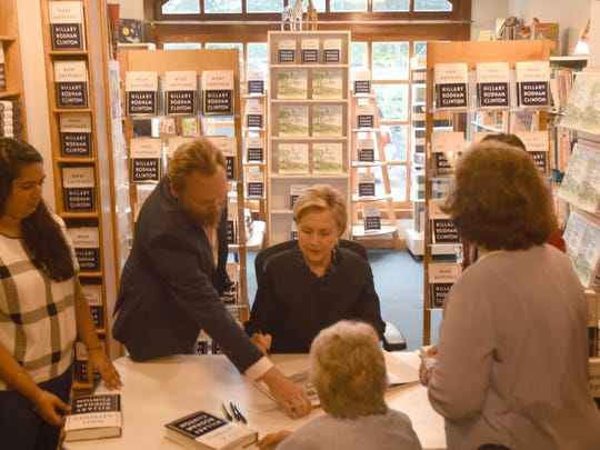 """Hillary Clinton was at Watchung Booksellers in Montclair on Tuesday to sign her new book, """"What Happened."""""""